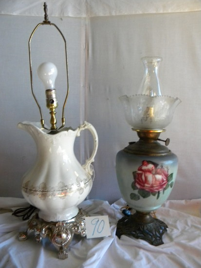 "Pair=hand Painted Base Oil Converted Elect., Metal Base, 23""h; Pitcher Lamp"