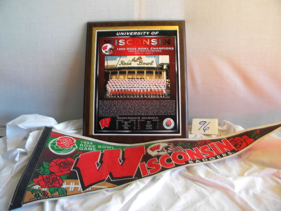 "Framed Badger's 1999 Rose Bowl Championship Team, 16"" X 13""; Pennant, 1994"