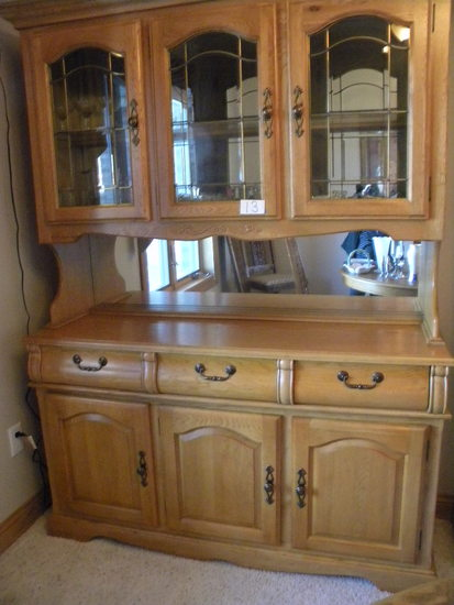"China Cabinet, Oak, Mirror Background, Lighted, 77""h. X 58""w X18 1/2""d."