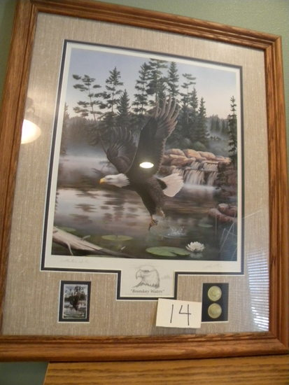 "National Park Service, Oak Frame & Matted, Print, ""boundary Waters-eagle"","