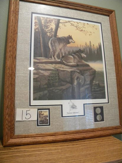 "National Park Service, Oak Frame & Matted, Print, 1991, ""summer Splendor"","