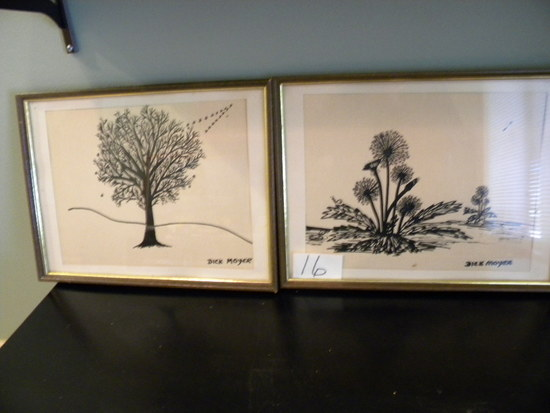 "Pair Of Ink Drawings, Dick Moyer, Framed, 10 1/2"" X 13 1/4'."