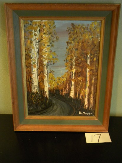 "Painting, Canvas, Dick Moyer, ""birch Drive"", Framed/matted, 12 1/2"" X 8"""