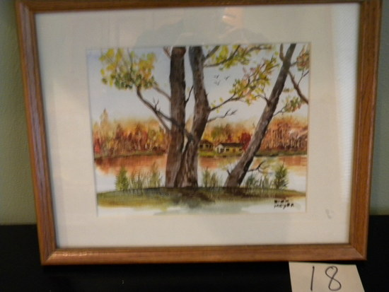 "Painting, Oil, By Dick Moyer, Frame/matted, 10 1/2"" X13 1/2""."