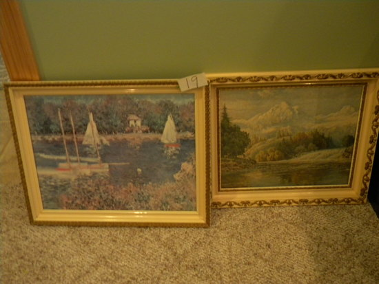 "Pair Of Decorative Framed Prints, ""outdoor Water Scenes"", 15 X 19 1/2""; 13"