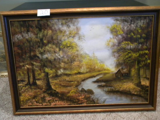 "Painting, Oil, By Dick Moyer, Frame/matted, Matted/framed, ""cabin By The St"
