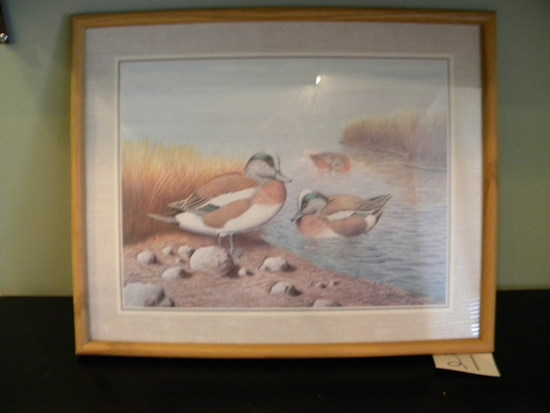 "Print, ""ducks"", By Ralph Coventry, Framed Matted, 12 X 16""."