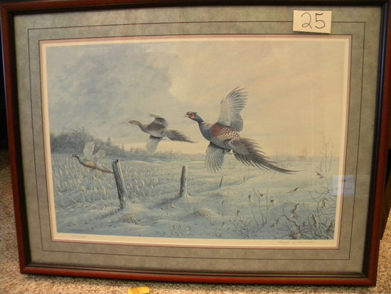 "Print, Floyd Hubbard, 229/2500, ""pheasants"", Framed/matted, 18 X 26""."