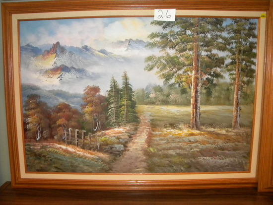 "Paint On Canvas, Framed/matted ""mountain Scene"", Unknown Artist, 23 1/2"" 3"
