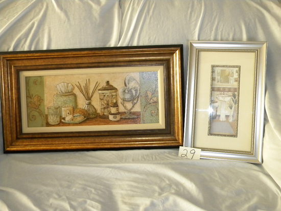 "Pair, Framed/matted, By C. Waterlee Olson, Prints, "" Winter Bath Items"", An"