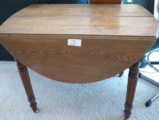 Antique Round Oak Drop Leaf Table, W/leaf.