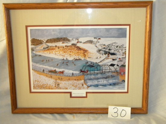 "Framed/matted Print, ""winter On The Pecatonica"", By Lavern Kammerude"", 1989"