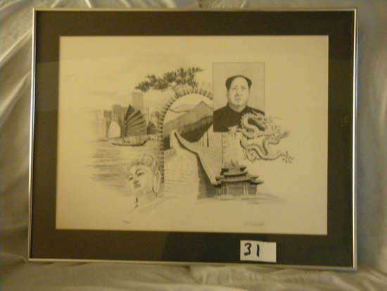 Pencil Sketch, Chinese Leader, By H. Mitchell, Metal Frame/matted, 79/230,