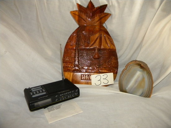 Portable Battery Operated Am-fm Radio; Paper Weight Onyx; Wood Hawaiian Pin