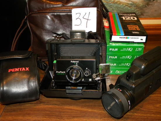 Bell And Howell 2123 El W/camera And Case; Pentax Ioz 35 Mm Camera W/case;