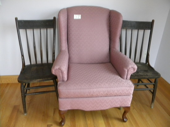 Wing-back Chair; Pair Of Old Spindle Back Wood Chairs.