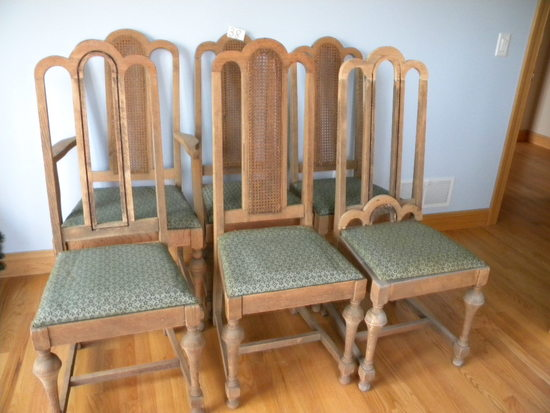 Six Oak Dining Chairs, (one King Chair).