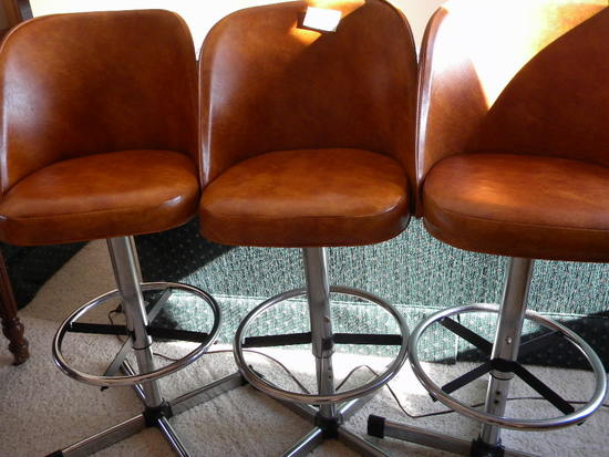 Three Metal Based, Bar Stools, W/backs.