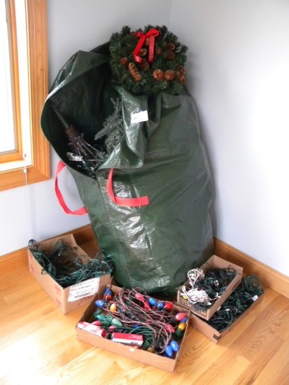 6 Ft Christmas Tree; Flat Of Old String Bulbs; Strands Of Bulbs.