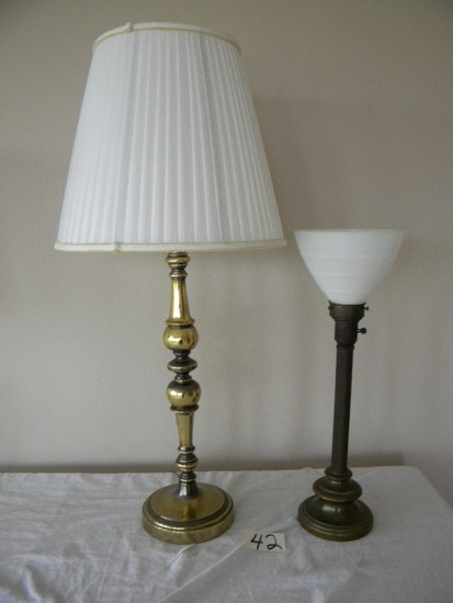 Pair = Metal Based Table Lamp; Brass Based Living Room Lamp W/shade