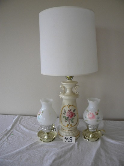 Pair Of Small Dresser Lamps Hand Painted Globes; Ceramic Based Living Room