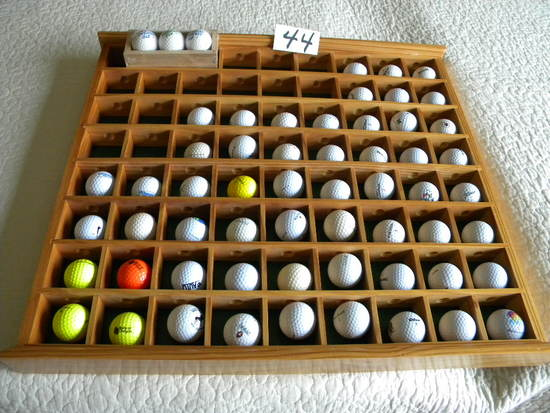 Golf Balls From Over 60 Courses W/sectioned Display Case Wo/cover.