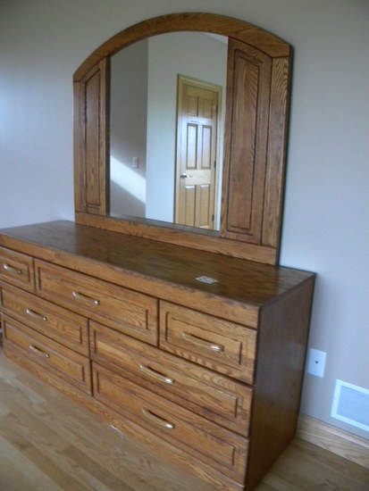 "Oak Dresser W/framed Mirror, 7 Drawers; 31""h X 66 1/4""w X18 1/4""d."