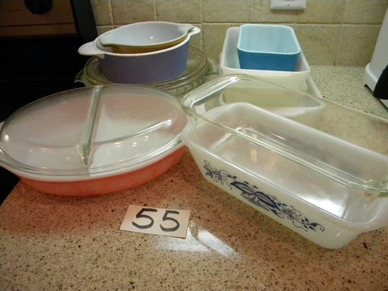 Pair Of Pyrex Loaf Dishes; Fire King (3) Loaf Dishes; Pyrex Divided Server/