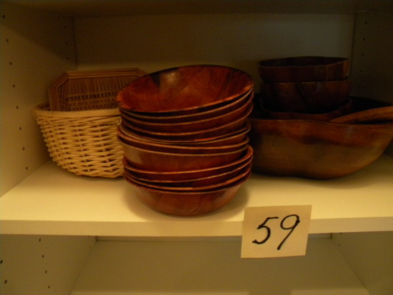 Large Mixing Bowl; 15 Wood Serving Bowls; 2 Baskets.