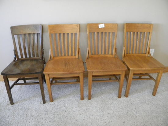 Four Oak Dining Chairs, Plank Bottoms, (one Dark Color).