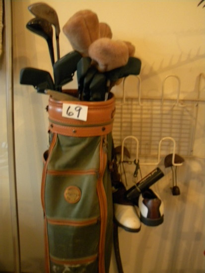 Left Handed Golf Clubs, (11); Bag; Shoes Scrubber Etc.
