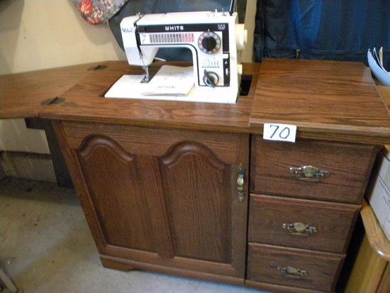 White Model 1099, W/stitch Selector, Cabinet.
