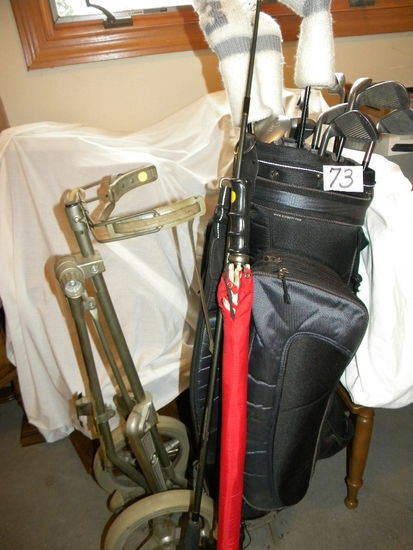 Right Handed  Golf Clubs, (13); Cart; Umbrella.