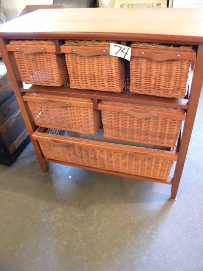 "Basket Cabinet, 6 Baskets, 33""h X 31 1/2"" X 16""d."