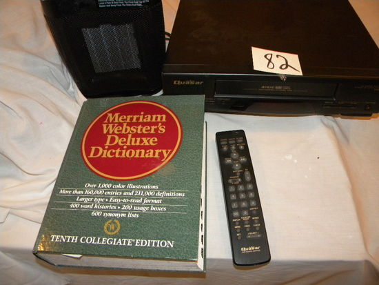 West House Elect. Htr.; New Webster Dictionary; Quasar Vhs Player W/remote.