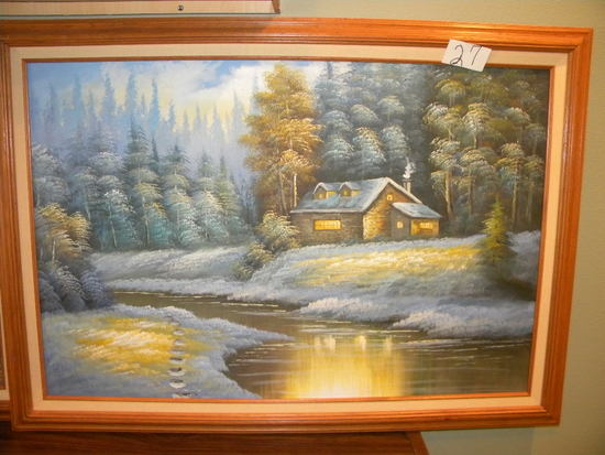 "Paint On Canvas, Framed/matted ""home By The Stream"", Unknown Artist, 23 1/2"