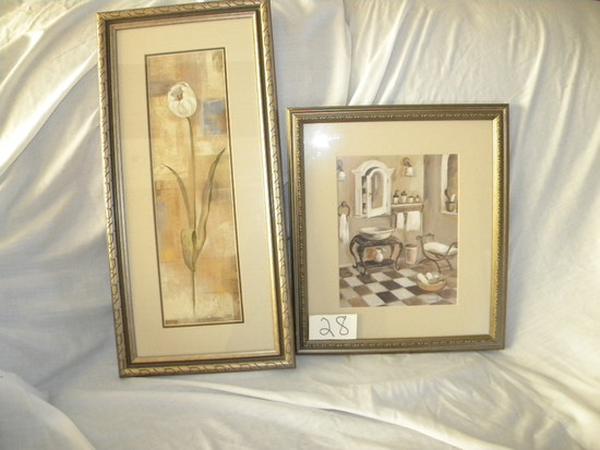"Pair, Framed/matted, By S. Valessa, Prints, ""white Tulips"", And Old Bath"","