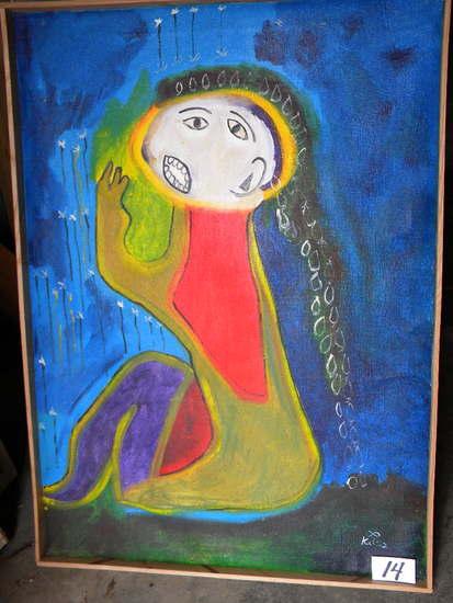 """""""implore"""", 24 X 34"""", Wood Frame , 2008, Framed.Acrylic on canvas"""