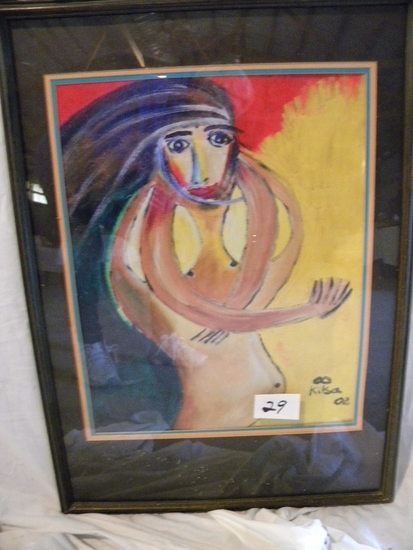 """""""Open Heart"""", Matted, Framed W/glass, 29 1/2 X 21"""" Acrylic on canvas"""