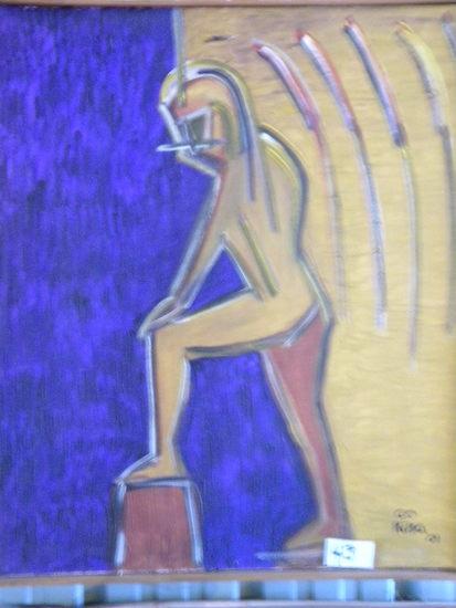 """Indian Pensando"", 30 X 26, 2001, w wood Frame  Acrylic on canvas"