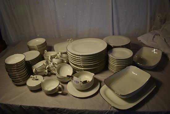 Sheer White, Silver Rim, 10 Pcs, Plates, Suacers, Bowls, Cups, Etc.