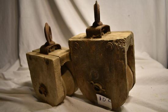 """Pair Of Rope Wood Pullies, 6""""d & 5""""d."""