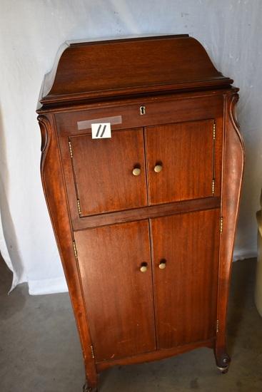 """Victoria Talking Machine W/cabinet, Crank, Works, 44""""h X 19""""w"""