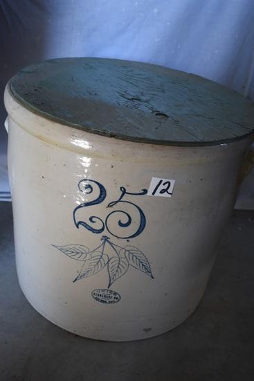 Union 25 Gallon Crock, Glazed Inside, W/lid. Slight Hairline Crack
