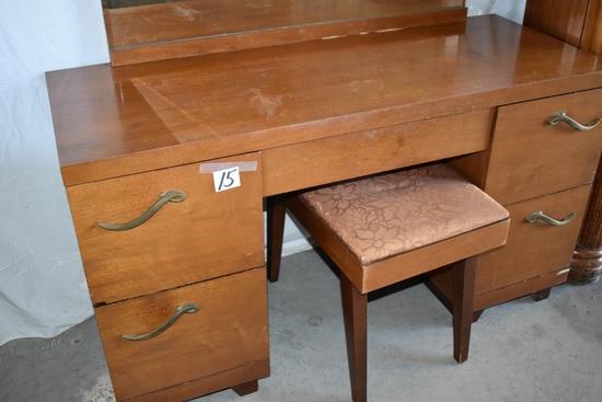 """Vanity Dresser W/beveled Mirror, 4 Dwr, Bench. 26""""h X 46 1/2""""w X 18""""d"""
