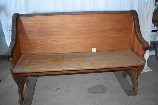 "Wood Church Pew, 36""h X52""w X 18 ""d."