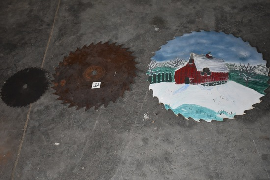 "Three Saw Mill Circular Blades.12"" 26"" Painted Barn Scene; 21""; ."