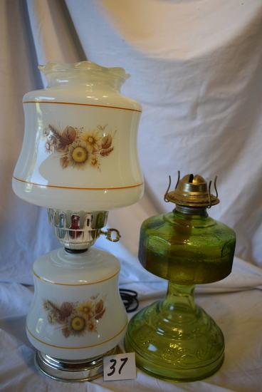 "Oil Lamp , 12""h"" Electric Desk Glass Design Lamp, 11 ""h"