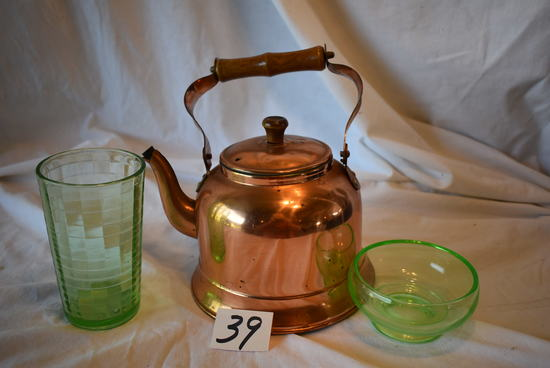 "Copper Tea Kettle; Depression Green 5""h Water Glass And 2""h Bowl."