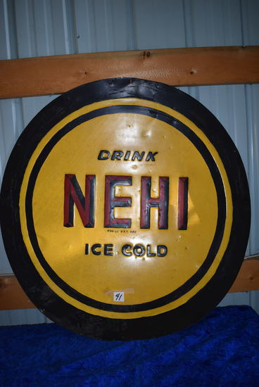 "Nehi 39 1/2"" Ice Cold Circ. Sign, Repainted; Nehi Rect. Sign, 20""h X 7""1w.."